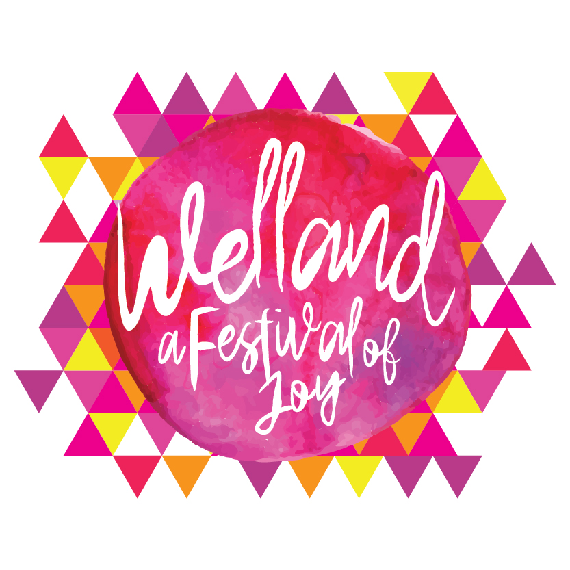 Welland festival logo - pink circle with orange and purple triangles around it
